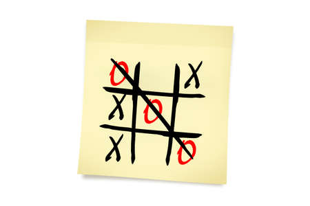 Tic tac toe game with letters on yellow sticky note paper, isolated on white background. Stok Fotoğraf