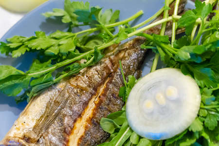 Detailed view of grilled fish, served with green vegetables and onion.