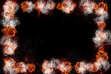 Realistic burning fire flames frame border, sparks and smoke with copy space, explosion effect on black background.