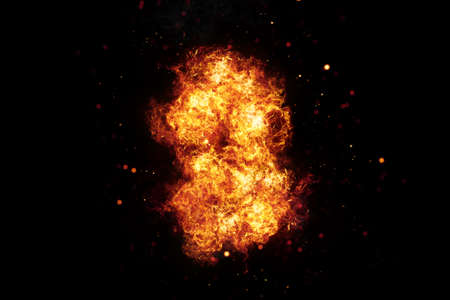 Realistic burning fire flames frame with sparks and smoke, explosion effect on black background. Фото со стока
