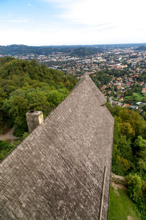 View of Upper Graz from old castle tower ruins named Gosting in Graz, Styria region of Austria.