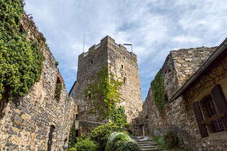 Main tower of old castle ruins named Gosting in Graz, Styria region of Austria.