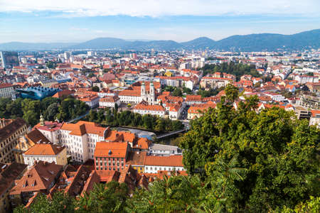 GRAZ, AUSTRIA - SEPTEMBER 16, 2016 : Panoramic view of Graz old town cityscape aerial view from Schlossberg Hill. Styria region of Austria. Editorial