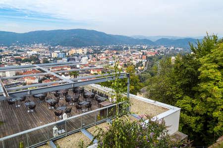 GRAZ, AUSTRIA - SEPTEMBER 16, 2016 : View of historical Schlossberg Hill in Graz, Styria region of Austria.