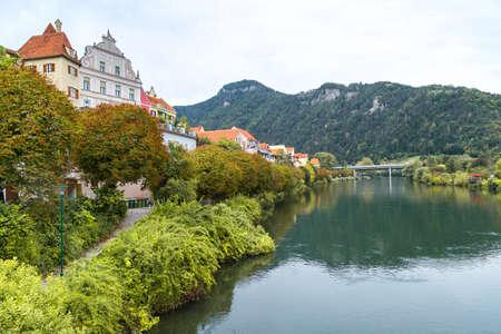 FROHNLEITEN, AUSTRIA - SEPTEMBER 16, 2016 : Old town view of small city Frohnleiten near Mur River in Styria region of Austria.