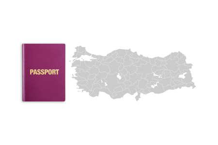 トルコ共和国とトルコのパスポートテキストと地図の近くのパスポートの詳細なビューを閉じます。