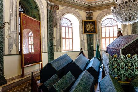 BURSA, TURKEY - JUNE 23, 2018 : The tomb (mausoleum) of Osman Gazi, founder of Ottoman Empire which was established in Bursa in 1299.