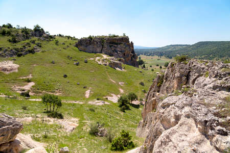 Landscape view of Phrygia valley in the middle of Kutahya, Eskisehir, Afyon in Turkey.
