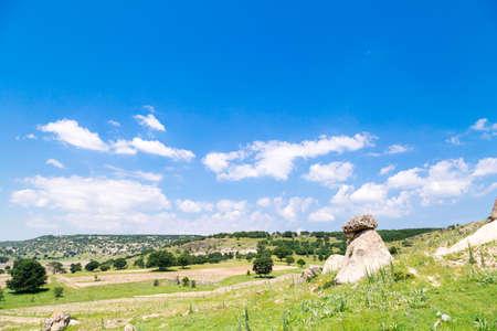 Landscape view of Phrygia valley in the middle of Kutahya, Eskisehir, Afyon in Turkey. 版權商用圖片