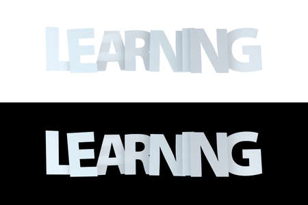 3d rendering of learning text on white and black version.