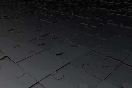 Perspective view of 3d illustration and rendering of full dark black jigsaw puzzle pieces.