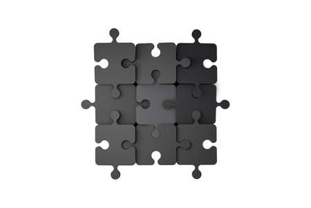 Top view of black puzzle pieces 3x3 isolated on white background.