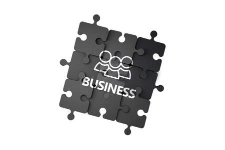 Business and finance concept on jigsaw puzzle pieces, isolated on white. Standard-Bild - 120364608