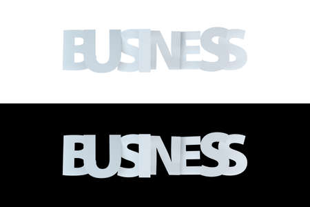 3d rendering of business text on white and black version. Stock Photo