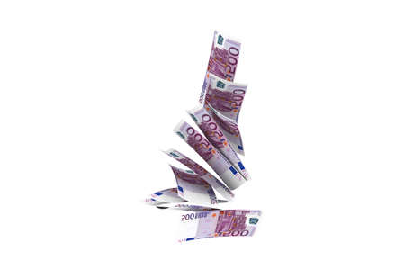 3d rendering, rain concept, five hundred euro banknotes flying and dropping, isolated on white background.