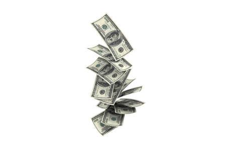 rendu 3D, concept de pluie, billets de cent dollars volant et tombant, isolés sur fond blanc.