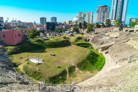 Historical amphitheatre of Dyrrachium Ancient City in Durres, Albania.