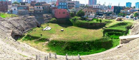 Historical amphitheatre of Dyrrachium Ancient City in Durres, Albania.