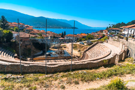 OHRID, MACEDONIA - AUGUST 7, 2019 : View of antique ancient amphitheater of Ohrid. Old town is touristic place in Macedonia. Redakční