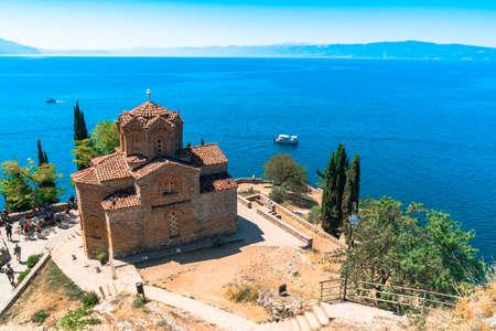 OHRID, MACEDONIA - AUGUST 7, 2019 : View of Saint John at Kaneo. It is Macedonian Orthodox Church near Lake Ohrid.