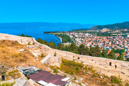 OHRID, MACEDONIA - AUGUST 7, 2019 : Panoramic view of Ohrid from Samuels Fortress in Republic of Macedonia. Ohrid is in UNESCO World Heritage by lake.