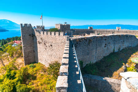 OHRID, MACEDONIA - AUGUST 7, 2019 : Samuels Fortress in Republic of Macedonia. Ohrid is in UNESCO World Heritage by lake.