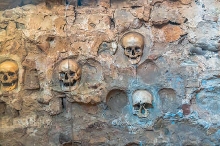 Memorial of human skulls embedded into tower walls which created in year 1809 (First National Uprising) in Nis, Serbia. Stock fotó