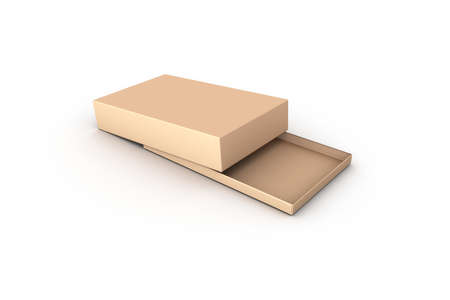 3d rendering of cardboard empty box mockup template with golden yellow color, isolated on white background.