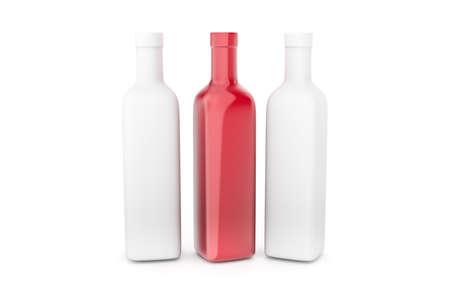 3d illustration of realistic bottle mockup template, isolated on white background.