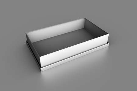 3D rendering of empty metal box mockup template with metallic color on gray background.