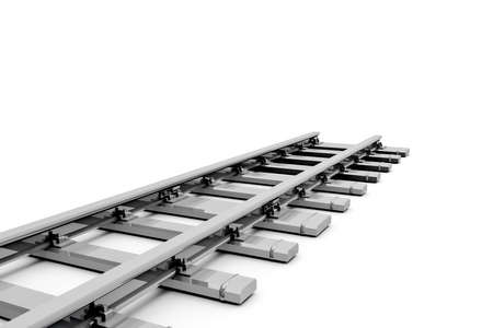 3d rendering, close up view of steel railway railroad tracks, isolated on white background. 스톡 콘텐츠