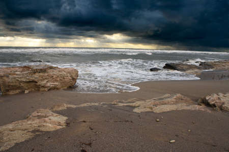 The shore of the Caspian Sea. Weather overcast, at sunset. October.
