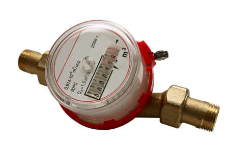 Domestic water meter. Close-up. Isolated on a white background.
