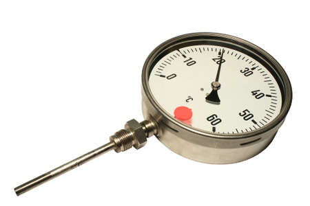 Manometric thermometer. Close-up. Isolated on a white background.