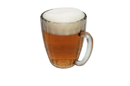 A mug of beer. Close-up. Isolated on a white background.