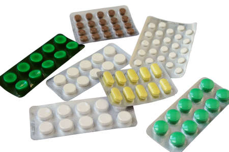 Packaging with pills. Close-up. Isolated on a white background.