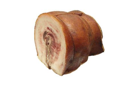 Baked ham. Close-up. Isolated on white background. Stock Photo
