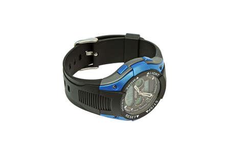 Mens wristwatch in a black box. Close-up. photo