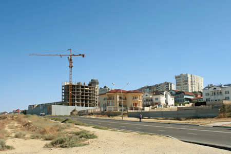 Construction of new homes in Aktau. Stock Photo