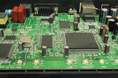 Modem disassembled, view of the electronic circuit boards. Stock Photo