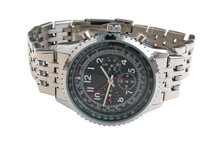 tachymeter: Mens mechanical watches. Closeup, isolated on a white background. Stock Photo