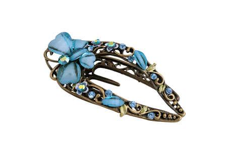 Crustal woman hair pin clip floral blue.