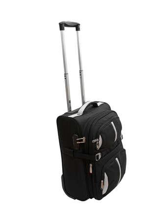 medium size: Suitcase of medium size, close-up, isolated on a white background. Stock Photo