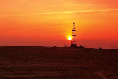 Drilling sunset. Stock Photo