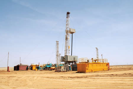 worksite: Drilling rig. Stock Photo