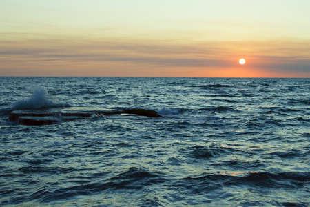 Sunset at Sea. Stock Photo
