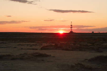 Drilling sunset. Stock Photo