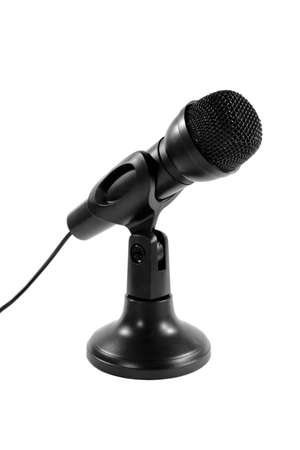 wired: Wired Microphone On Stand Stock Photo