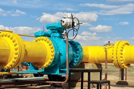 methane: Ball valve on a gas pipeline  Stock Photo