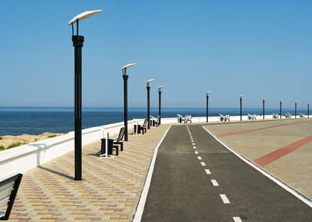 Deserted seafront promenade Stock Photo